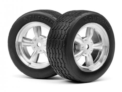 Vintage Racing Reifen 26mm auf 5 Speichen Matt-Chromfelge (2St) HPI 117377