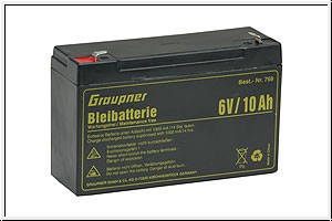 Bleiakku 6 V/10 Ah Graupner 768
