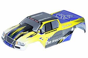 Karosserie lackiertTrug. gelb/blau 1/10 Graupner 90507.2