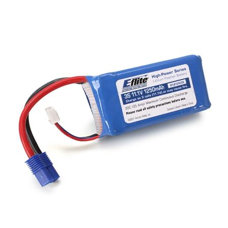 E-flite Lipo 1250mAh 3S 11.1V 20C  EC3 Horizon EFLB12503S