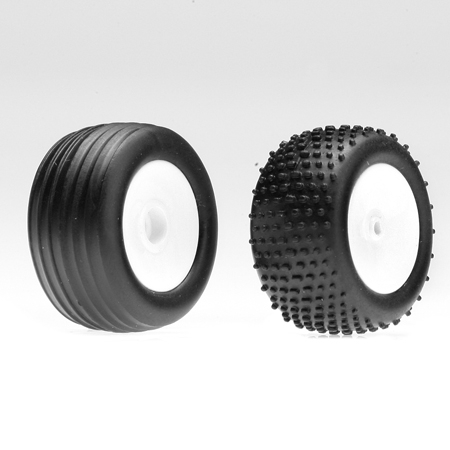 Front/Rear Wheels & Tires, White: Micro-T/B/DT Horizon LOSB1526