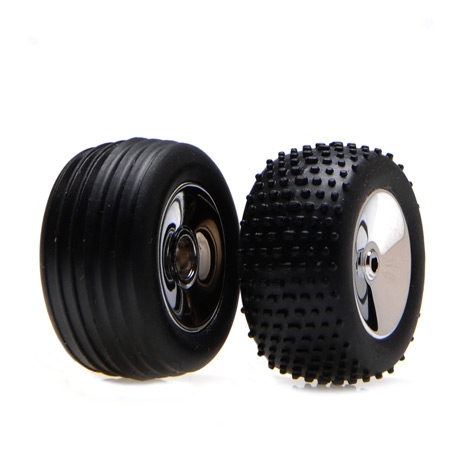 Front/Rear Wheels & Tires, Chrome: Micro-T/B/DT Horizon LOSB1527