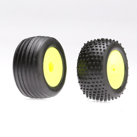 Front/Rear Wheels & Tires, Yellow: Micro-T/B/DT Horizon LOSB1530