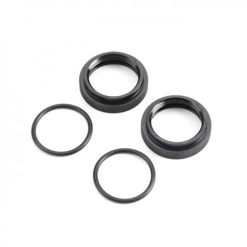 Shock Adjuster Nut w/O-ring, AL, Blk(2):5B,5T,MINI Horizon TLR253000