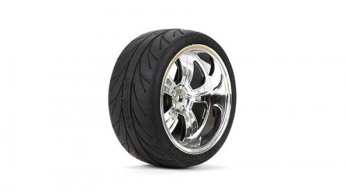 Vaterra 5-Speichenchromfelgen m. Reifen hinten montiert 54 x 26 mm (2 Stk) Horizon VTR43039