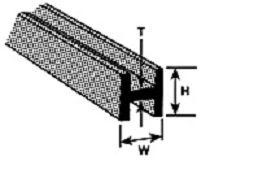 H-4 H-Profil ABS 3,2x3,2x375mm (5) Krick 190063