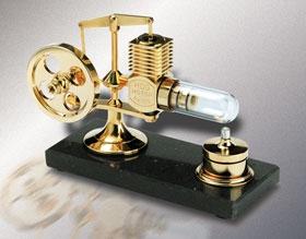 Stirlingmotor groß Gold montiert Krick 22200