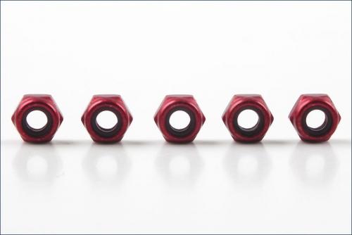 Muttern Alu M3 rot, duenn (5) Kyosho 1351
