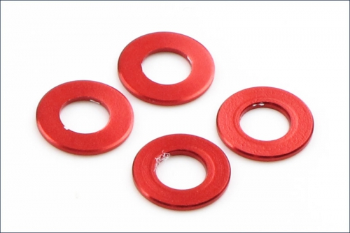 Scheiben Alu, 3x6x0.5mm, rot (4) Kyosho 97041-05R