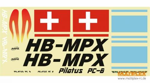 Dekorbogen Pilatus PC-6 blau Multiplex 224373