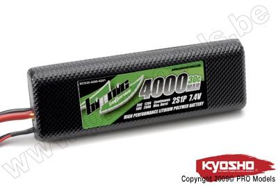 BIONIC CAR 30C 4000MAH 2S1P 7,4V KYOSHO DEAN CONNECTOR BCS30-4000-0201D