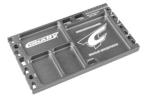 Team Corally - Multi-purpose Ultra Tray - Mehrzweck Kleinteile Behälter - Lötvorrichtung - CNC gefrästes Aluminium - Farbe Titan C-16305