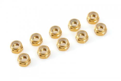 Team Corally - Aluminium Sechskantmutter Selbstsichernd - M4 - Gold - 10 St C-31030