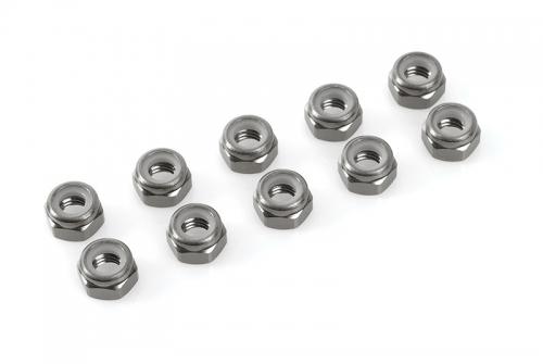 Team Corally - Aluminium Sechskantmutter Selbstsichernd - M5 - Gun Metal - 10 St C-31043