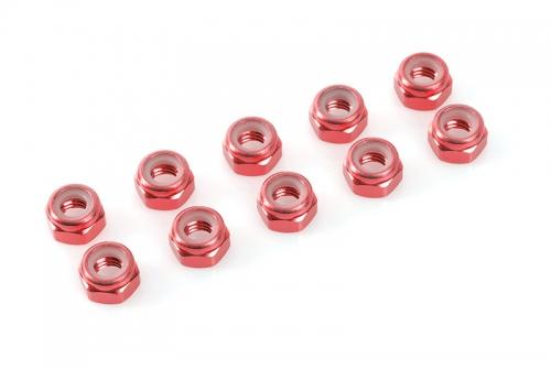 Team Corally - Aluminium Sechskantmutter Selbstsichernd - M5 - Rot - 10 St C-31045
