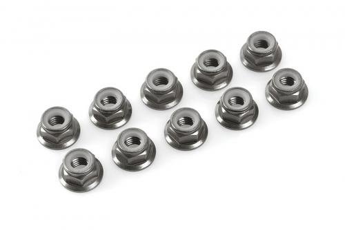 Team Corally - Aluminium Sechskantmutter Selbstsichernd - M4 - mit Bund - Gun Metal - 10 St C-31133