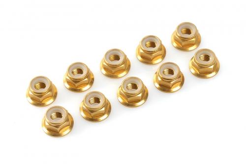 Team Corally - Aluminium Sechskantmutter Selbstsichernd - M5 - mit Bund - Gold - 10 St C-31140