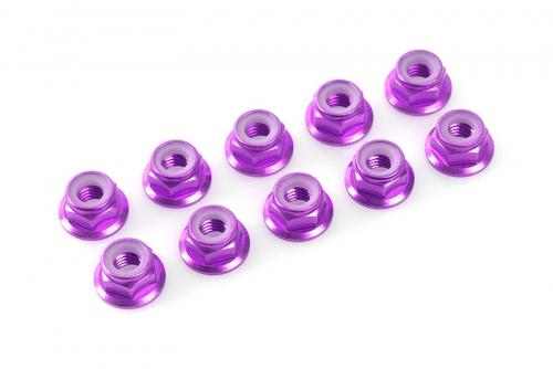 Team Corally - Aluminium Sechskantmutter Selbstsichernd - M5 - mit Bund - Violet - 10 St C-31142