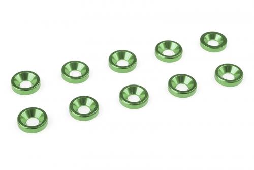 Team Corally - Aluminium Unterlegscheibe - für M3 Senkkopfschrauben - AD=8mm - Grün - 10 St C-31201
