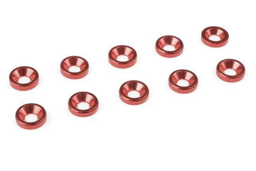 Team Corally - Aluminium Unterlegscheibe - für M3 Senkkopfschrauben - AD=8mm - Rot - 10 St C-31205