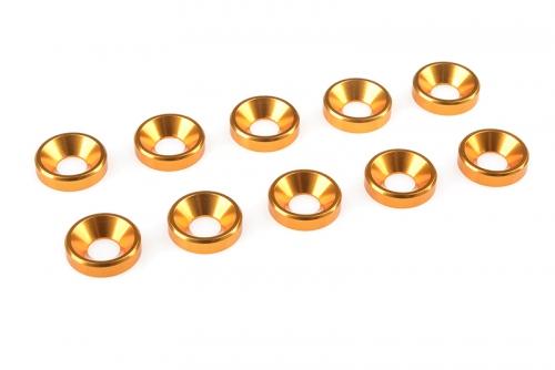 Team Corally - Aluminium Unterlegscheibe - für M4 Senkkopfschrauben - AD=10mm - Gold - 10 St C-31210