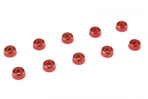 Team Corally - Aluminium Unterlegscheibe - für M2 Zylinderkopfschrauben - AD=6mm - Rot - 10 St C-31255