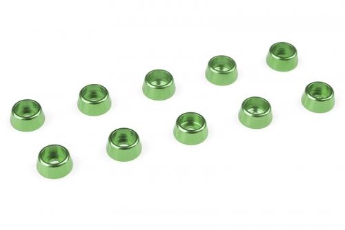 Team Corally - Aluminium Unterlegscheibe - für M2.5 Zylinderkopfschrauben - AD=7mm - Grün - 10 St C-31261