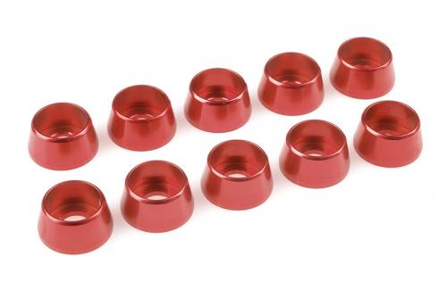 Team Corally - Aluminium Unterlegscheibe - für M5 Zylinderkopfschrauben - AD=12mm - Rot - 10 St C-31295