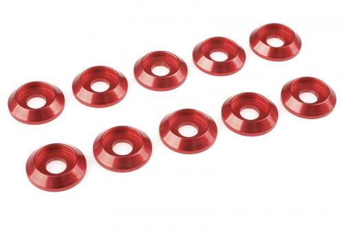 Team Corally - Aluminium Unterlegscheibe - for M4 Linsenkopfschrauben - AD=12mm - Rot - 10 St C-31325