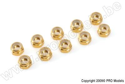G-Force RC - Aluminium Sechskantmutter Selbstsichernd - M4 - Gold - 10 St GF-0400-040