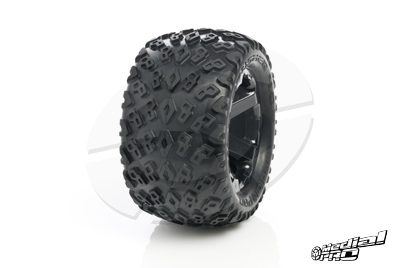 Medial Pro - Tyre set pre-mounted Dirt Crusher 4.0,  White rims 17mm Hex, fits REVO + MAXX series MP-5700