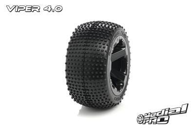 Medial Pro - Sport Reifen und Felgen verklebt - Viper 4.0 - Schwarze Felgen - 17mm Sechskant - Revo + Maxx Serien MP-5725