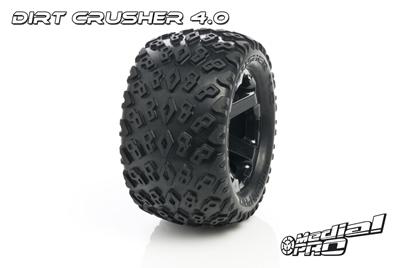 Medial Pro - Sport Reifen und Felgen verklebt - Dirt Crusher 4.0 - Schwarze Felgen - 17mm Sechskant - Summit, Revo + Maxx Serien MP-5805