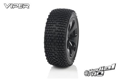 Medial Pro - Racing Reifen und Felgen verklebt - Viper - M4 Super Soft - Schwarze Felgen - Vorder SLASH 2WD MP-6125-M4