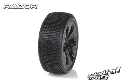 Medial Pro - Racing Reifen und Felgen verklebt - Razor - M3 Soft - Schwarze Felgen - Vorder SLASH 2WD MP-6145-M3