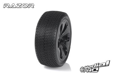 Medial Pro - Racing Reifen und Felgen verklebt - Razor - M4 Super Soft - Schwarze Felgen - Vorder SLASH 2WD MP-6145-M4