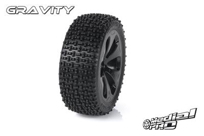 Medial Pro - Racing Reifen und Felgen verklebt - Gravity - M4 Super Soft - Schwarze Felgen - Vorder SLASH 2WD MP-6155-M4