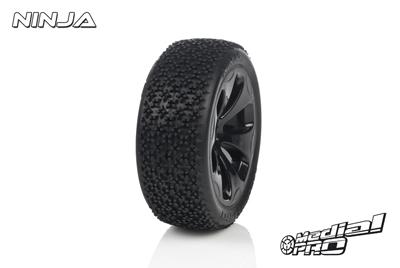 Medial Pro - Racing Reifen und Felgen verklebt - Ninja - M3 Soft - Schwarze Felgen - Hinter + Vorder Slash 4WD, Hinter Slash 2WD MP-6315-M3