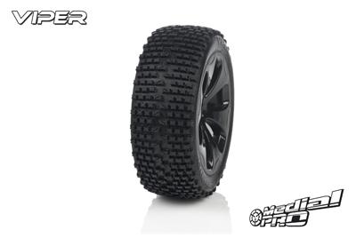 Medial Pro - Racing Reifen und Felgen verklebt - Viper - M4 Super Soft - Schwarze Felgen - Hinter + Vorder Slash 4WD, Hinter Slash 2WD MP-6325-M4