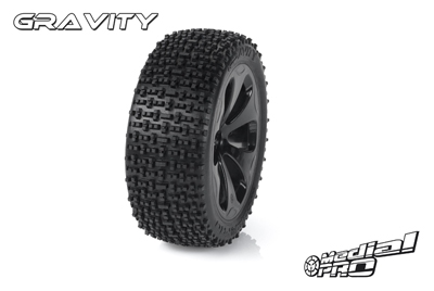 Medial Pro - Racing Reifen und Felgen verklebt - Gravity - M4 Super Soft - Schwarze Felgen - Hinter + Vorder Slash 4WD, Hinter Slash 2WD MP-6355-M4