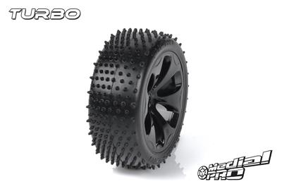 Medial Pro - Racing Reifen und Felgen verklebt - Turbo - M3 Soft - Schwarze Felgen - Hinter + Vorder Slash 4WD, Hinter Slash 2WD MP-6365-M3