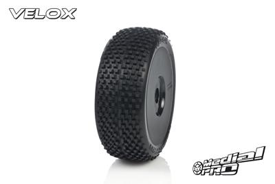 Medial Pro - Racing Reifen und Felgen verklebt - Velox - M4 Super Soft - Buggy 1/8 - 17mm Sechskant - Weisse Felgen MP-6405-M4