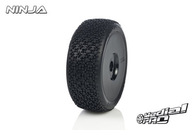 Medial Pro - Racing Reifen und Felgen verklebt - Ninja - M3 Soft - Buggy 1/8 - 17mm Sechskant - Weisse Felgen MP-6415-M3