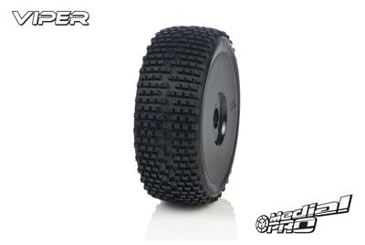 Medial Pro - Racing Reifen und Felgen verklebt - Viper - M3 Soft - Buggy 1/8 - 17mm Sechskant - Weisse Felgen MP-6425-M3