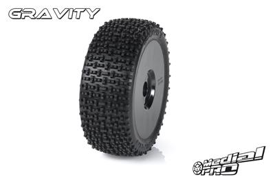 Medial Pro - Racing Reifen und Felgen verklebt - Gravity - M3 Soft - Buggy 1/8 - 17mm Sechskant - Weisse Felgen MP-6455-M3