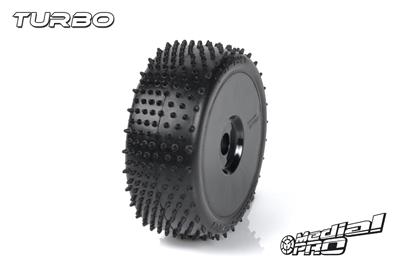 Medial Pro - Racing Reifen und Felgen verklebt - Turbo - M3 Soft - Buggy 1/8 - 17mm Sechskant - Weisse Felgen MP-6465-M3