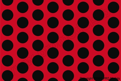 Oracover - Fun 1 (16mm Dots) Fluorescent Red + Black ( Length : Roll 10m , Width : 60cm ) OR-41-021-071-010