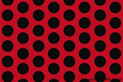 Oracover - Fun 1 (16mm Dots) Light Red + Black ( Length : Roll 10m , Width : 60cm ) OR-41-022-071-010