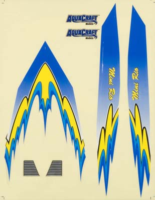 Aquacraft Decal Sheet Blue Mini Rio Revell RC Pro AQUB6327