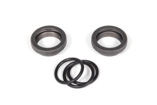 10mm Dämpfer Rändelmutter, Alu (2) & O-Ringe AX30110